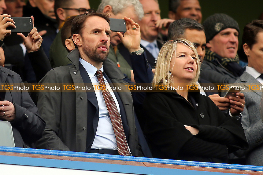 England Manager, Gareth Southgate awaiting kick-off during Chelsea vs Arsenal, Premier League Football at Stamford Bridge on 4th February 2017