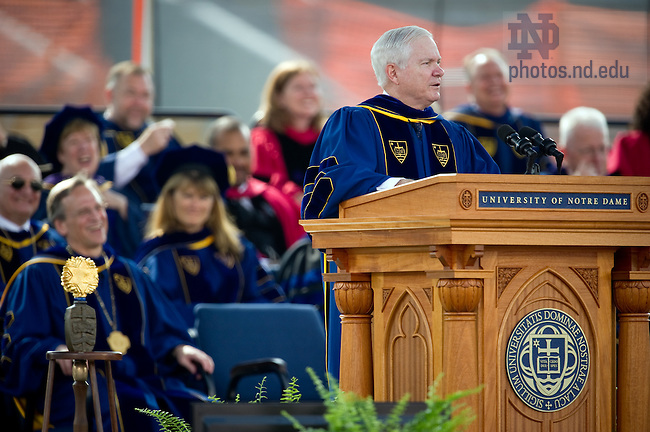 May 22, 2011; U.S. Secretary of Defense Robert Gates delivers the 2011 Commencement address at Notre Dame Stadium...Photo by Matt Cashore/University of Notre Dame