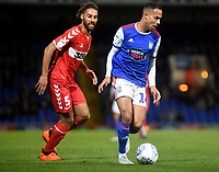 Ipswich Town's Jordan Graham (right) battles with Middlesbrough's Ryan Shotton (left) <br /> <br /> Photographer Hannah Fountain/CameraSport<br /> <br /> The EFL Sky Bet Championship - Ipswich Town v Middlesbrough - Tuesday 2nd October 2018 - Portman Road - Ipswich<br /> <br /> World Copyright &copy; 2018 CameraSport. All rights reserved. 43 Linden Ave. Countesthorpe. Leicester. England. LE8 5PG - Tel: +44 (0) 116 277 4147 - admin@camerasport.com - www.camerasport.com