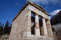 DELPHI, GREECE - APRIL 12 : A low angle view of the Treasury of the Athenians, on April 12, 2007 in the Sanctuary of Apollo, Delphi, Greece. The Treasury of the Athenians was built circa 500BC and has been completely restored in the Doric order at the beginning of the 20th century. The building has 2 Doric columns and 27 metopes depicting the Labours of Herakles and Theseus as well as the Amazonomachy. (Photo by Manuel Cohen)