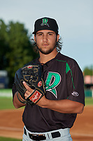 Dayton Dragons pitcher Lyon Richardson (24) poses for a photo before a Midwest League game against the Kane County Cougars on July 20, 2019 at Northwestern Medicine Field in Geneva, Illinois.  Dayton defeated Kane County 1-0.  (Mike Janes/Four Seam Images)