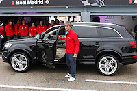Real Madrid player Fabio Coentrao participates and receives new Audi during the presentation of Real Madrid's new cars made by Audi at the Jarama racetrack on November 8, 2012 in Madrid, Spain.(ALTERPHOTOS/Harry S. Stamper) .<br />