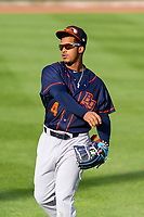 Bowling Green Hot Rods shortstop Wander Franco (4) warms up in the outfield prior to a Midwest League game against the Cedar Rapids Kernels on May 2, 2019 at Perfect Game Field in Cedar Rapids, Iowa. Bowling Green defeated Cedar Rapids 2-0. (Brad Krause/Four Seam Images)