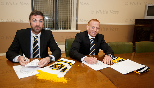 Stephen Aitken (R) and his no 2 Stephen Farrell unveiled as the new management team at Dumbarton this afternoon