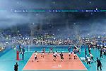 24.02.2019, SAP Arena, Mannheim<br /> Volleyball, DVV-Pokal Finale, VfB Friedrichshafen vs. SVG LŸneburg / Lueneburg<br /> <br /> Angriff Ryan Sclater (#15 Lueneburg) / Feature Nebel / Rauch<br /> <br />   Foto © nordphoto / Kurth