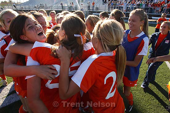 Sandy - 5A high school girls state soccer tournament. Brighton's Jessica Ringwood (9) and teammates celebrate win
