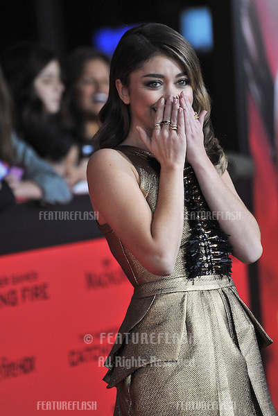 Sarah Hyland at the US premiere of &quot;The Hunger Games: Catching Fire&quot; at the Nokia Theatre LA Live.<br /> November 18, 2013  Los Angeles, CA<br /> Picture: Paul Smith / Featureflash