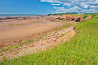 Red snadstone cliffs at low tide<br />