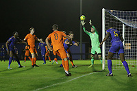 Michael Agboola of Romford is denied by Tim Brown of Brentwood during Romford vs Brentwood Town, Velocity Trophy Football at the Brentwood Centre on 8th October 2019