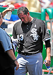 20 June 2010: Chicago White Sox' pitcher Freddy Garcia cools off in the dugout during a game against the Washington Nationals at Nationals Park in Washington, DC. The White Sox swept the Nationals winning 6-3 in the last game of their 3-game interleague series. Mandatory Credit: Ed Wolfstein Photo