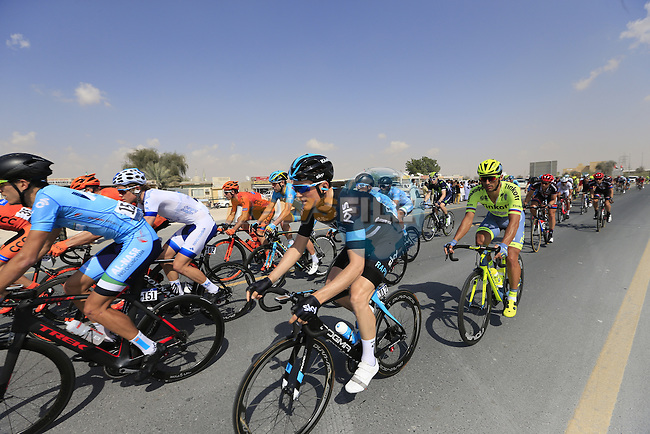 The peloton pass through Al Marmoom during Stage 2, the Nakheel Stage, of the 2016 Dubai Tour starting at the Dubai International Marine Club and running 188km to Palm Jumeirah Atlantis, Dubai, United Arab Emirates. 4th February 2016.<br /> Picture: Eoin Clarke | Newsfile<br /> <br /> <br /> All photos usage must carry mandatory copyright credit (&copy; Newsfile | Eoin Clarke)
