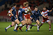 29th September 2017, AJ Bell Stadium, Salford, England; Aviva Premiership Rugby, Sale Sharks versus Gloucester; Gloucester Rugby's Billy Twelvetrees is tackled by Sale Sharks' Mark Jennings