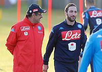 Maurizio Sarri  Gonzalo Higuain <br /> Allenamento del Napoli nel centro sportivo di CastelVolturno