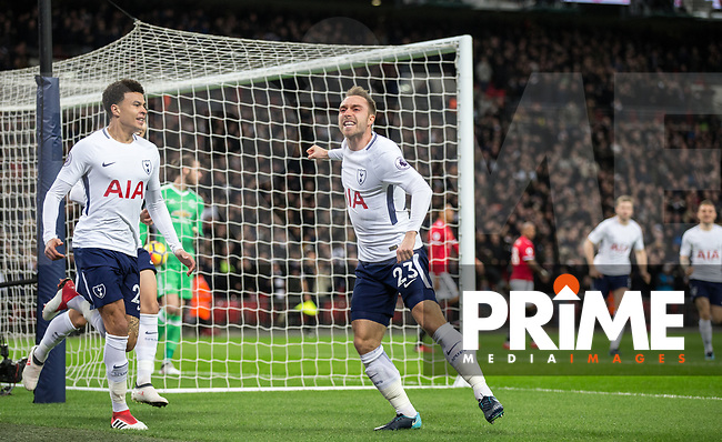Christian Eriksen of Spurs celebrates his goal in 11 seconds of Kick Off during the Premier League match between Tottenham Hotspur and Manchester United at Wembley Stadium, London, England on 31 January 2018. Photo by Andy Rowland.