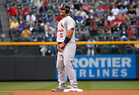 St. Louis Cardinals 1st baseman Albert Pujols enjoys a lighter moment after reaching 2nd base against the Colorado Rockies. The Cardinals defeated the Rockies 6-5 at Coors Field in Denver, Colorado on May 6, 2008.