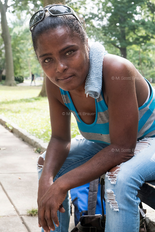 Deborah Leatherberry lives in West Philadelphia, and is seen here in Vernon Park in East Germantown, Philadelphia, Pennsylvania, on Tues., July 26, 2016.