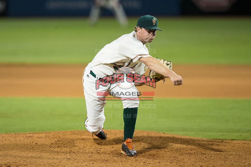 Greensboro Grasshoppers relief pitcher Jordan Hillyer (47) in action against the Kannapolis Intimidators at NewBridge Bank Park on July 7, 2016 in Greensboro, North Carolina.  The Dash defeated the Pelicans 13-9.  (Brian Westerholt/Four Seam Images)