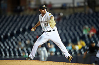 Akron RubberDucks relief pitcher Will Roberts (37) during a game against the Richmond Flying Squirrels on July 26, 2016 at Canal Park in Akron, Ohio .  Richmond defeated Akron 10-4.  (Mike Janes/Four Seam Images)