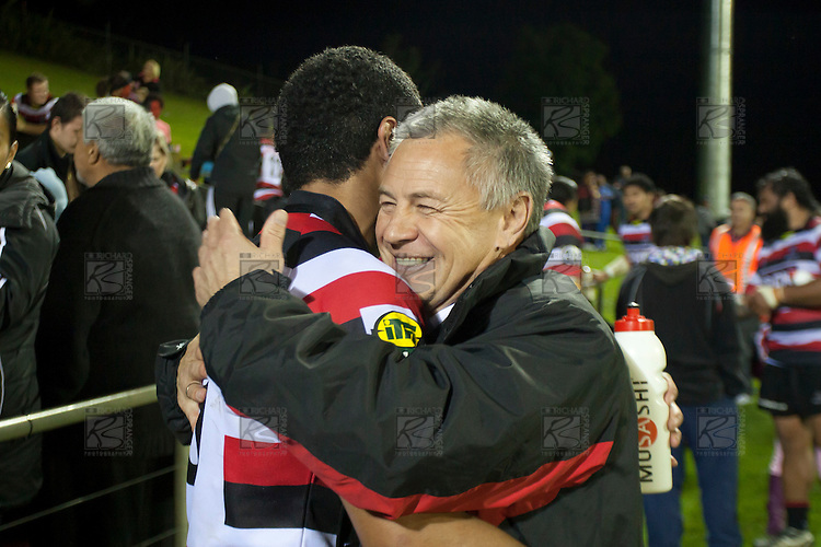 Coach Milton Haig embraces Siale Piutau  after the Steelers win.  ITM Cup Round 1 game between the Counties Manukau Steelers and Otago, played at Bayer Growers Stadium, Pukekohe, on Saturday July 31st 2010. Counties Manukau Steelers won 29 - 13 after leading 22 - 6 at halftime.