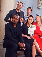 Kim Kardashian and Kanye West at fashion show - Paris
