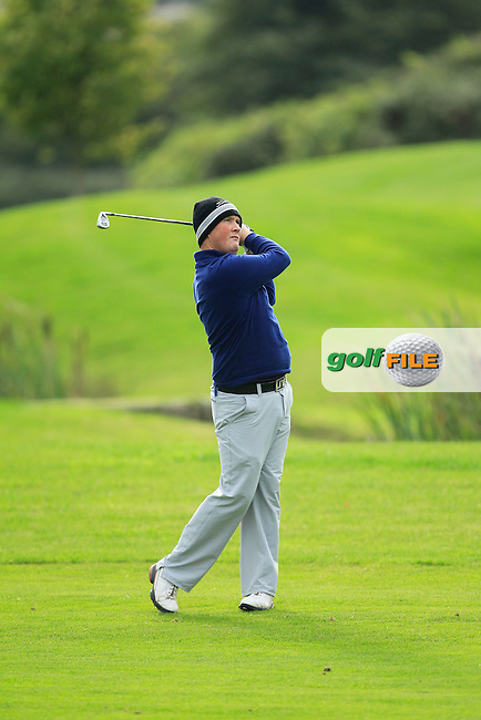 Michael McGeady on the 18th during Round 3 of The Cassidy Golf 103rd Irish PGA Championship in Roganstown Golf Club on Saturday 12th October 2013.<br /> Picture:  Thos Caffrey / www.golffile.ie