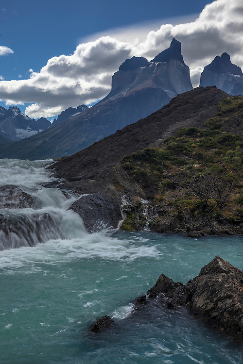Beautiful river cascades are found emptying out of Lago Nodenskjold in Torres del Paine NP, Chile