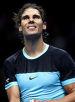 Rafael Nadal of Spain smiles at the ATP World Tour Finals, The O2, London, 2015