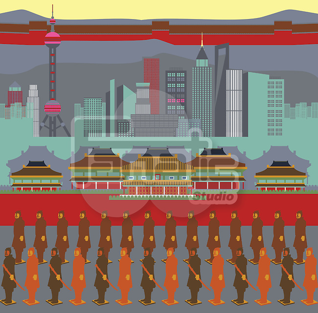 Illustration showing top tourist attractions in China
