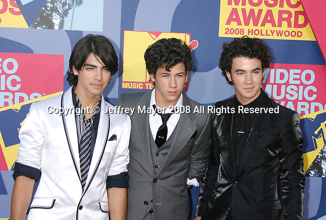LOS ANGELES, CA. - September 07: Joe Jonas, Nick Jonas, and Kevin Jonas of the Jonas Brothers arrive at the 2008 MTV Video Music Awards at Paramount Pictures Studios on September 7, 2008 in Los Angeles, California..
