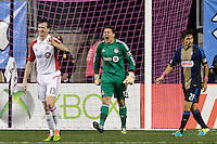 Toronto FC goalkeeper Joe Bendik (12) looks for a call from the referee. The Philadelphia Union defeated Toronto FC 1-0 during a Major League Soccer (MLS) match at PPL Park in Chester, PA, on October 5, 2013.