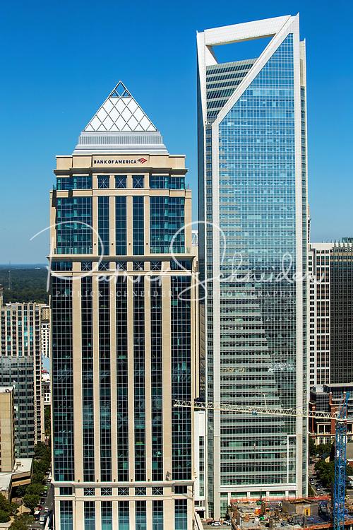 Aerial photography of the Charlotte, North Carolina skyline. The skyline views of Bank of America Corporate Center, Duke Energy Center, Bank of America Stadium, Legacy Union and the Charlotte Knights Baseball Stadium.<br /> <br /> Charlotte Photographer - PatrickSchneiderPhoto.com