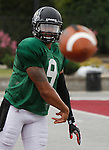 Lindenwood QB Darrien Boone sails the ball to a receiver during Lynx practice.