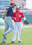 5 March 2016: Washington Nationals outfielder Ben Revere greets Detroit Tigers outfielder John Mayberry Jr. prior to a Spring Training pre-season game at Space Coast Stadium in Viera, Florida. The Nationals defeated the Tigers 8-4 in Grapefruit League play. Mandatory Credit: Ed Wolfstein Photo *** RAW (NEF) Image File Available ***