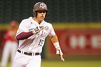 Texas A&M Aggie outfielder Daniel Mengden #15 hustles towards third base against the Houston Cougars in the NCAA baseball game on March 1st, 2013 at Minute Maid Park in Houston, Texas. Houston defeated Texas A&M 7-6. (Andrew Woolley/Four Seam Images).
