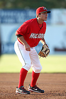 Batavia Muckdogs third baseman Alan Ahmady (9) during a game vs. the Auburn Doubledays at Dwyer Stadium in Batavia, New York June 19, 2010.   Batavia defeated Auburn 2-1.  Photo By Mike Janes/Four Seam Images
