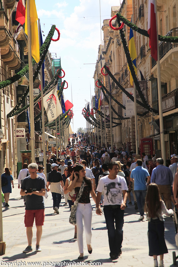 Busy shopping street in city centre, Republic Street, Valletta, Malta