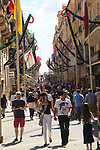 Busy shopping street in city centre, Republic Street, Valletta, Malta