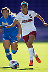 ORLANDO, FL - DECEMBER 03: Tegan McGrady #9 of Stanford University races past Anika Rodriguez #7 of UCLA during the Division I Women's Soccer Championship held at Orlando City SC Stadium on December 3, 2017 in Orlando, Florida. Stanford defeated UCLA 3-2 for the national title. (Photo by Jamie Schwaberow/NCAA Photos via Getty Images)