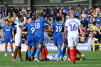Tempers flare in the second half during AFC Wimbledon vs Portsmouth, Sky Bet EFL League 1 Football at the Cherry Red Records Stadium on 13th October 2018