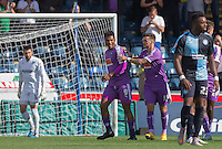 Graham Carey of Plymouth Argyle congratulates goal scorer Reuben Reid (9) of Plymouth Argyle on his goal to make it 1-0 during the Sky Bet League 2 match between Wycombe Wanderers and Plymouth Argyle at Adams Park, High Wycombe, England on 12 September 2015. Photo by Andy Rowland.