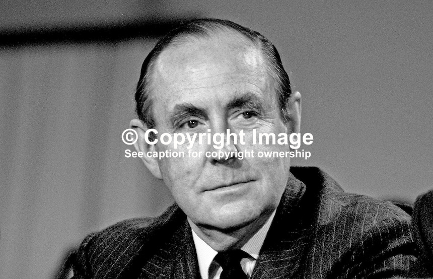 Peter Brooke, MP, Conservative Party, party chairman, UK,  on platform at annual conference, 19871033PB.<br />