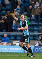 Luke O'Nien of Wycombe Wanderers celebrates his goal during the Sky Bet League 2 match between Wycombe Wanderers and Bristol Rovers at Adams Park, High Wycombe, England on 27 February 2016. Photo by Andrew Rowland.