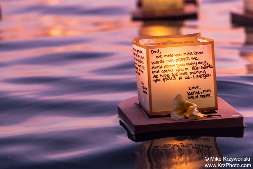 Close-up view of lanterns floating in the water during the 15th Annual Lantern Floating Ceremony at Ala Moana Beach Park in Honolulu on Memorial Day