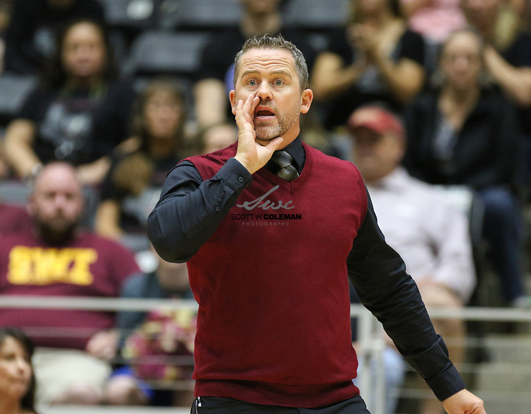 Rouse Raiders head coach Jacob Thompson during a Class 5A girls high school semifinal volleyball game between Rouse High School and Aledo High School at Curtis Culwell Center in Garland, Texas, on November 17, 2017. Rouse swept Aledo (25-17, 27-25, 25-18) to advance to the finals.