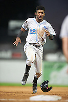 Hudson Valley Renegades right fielder Angel Perez (22) running the bases during a game against the Batavia Muckdogs on August 1, 2016 at Dwyer Stadium in Batavia, New York.  Hudson Valley defeated Batavia 5-1.  (Mike Janes/Four Seam Images)