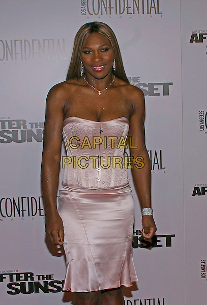 """SERENA WILLIAMS.At the US premiere of """"After the Sunset"""" held at Grauman's Chinese Theatre,  Hollywood, California, USA, .4th November 2004  .half length pink satin corset dress.**UK SALES ONLY**.Ref: ADM.www.capitalpictures.com.sales@capitalpictures.com.©Capital Pictures."""
