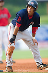 Greenville Drive shortstop Christian Lara looks at his third base coach in game action versus the Kannapolis Intimidators at Fieldcrest Canon Stadium in Kannapolis, NC, Sunday, July 9, 2006.