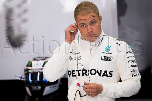 26th August 2017, Circuit de Spa-Francorchamps, Belgium; Belgium Grand Prix, Qualifying Session; Valtteri BOTTAS from Finland of Mercedes-AMG-Petronas Formula One  Team, Mercedes F1 M08 Hybrid, EQ Power+ before the FP3 session