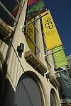 Banners and advertisements outside the Repertory Theatre or Rep Centenary Square Birmingham England