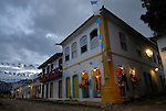 Paraty, Espirito Santo, Brazil: Nicely decorated and lit historic centre of Party during the Nossa Senhora do Rosario and Sao Benedito Festival in November. --- Info: The beautiful colonial town of Paraty has been a UNESCO World Heritage Site since 1958.  --- No signed releases available.